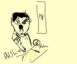 Fascist icon shoves stickman