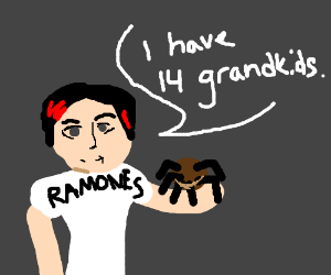 punk grandma with a tarantula