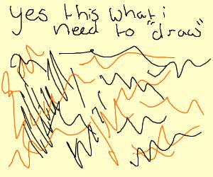 black and orange scribbles
