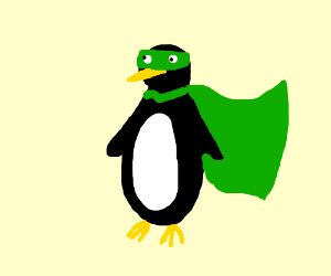 Penguin Superhero with green mask