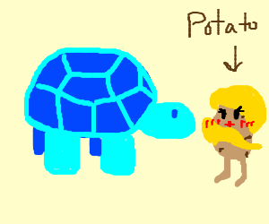 A giant blue turtle with a hot potato?