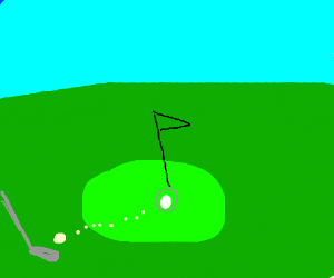 Man plays golf.