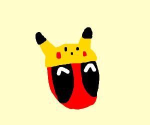 Deadpool in a Pikachu hat